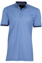 Culture polo blauw motief regular fit
