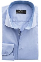 John Miller tailored fit shirt blauw two ply