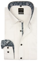 OLYMP shirt wit paisley contrast mouwlengte 7