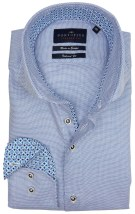 Portofino tailored fit overhemd blauw motief