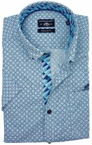 State of Art shirt korte mouw turquoise motief