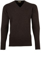 William Lockie pullover donkerbruin lamswol
