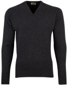 William Lockie trui antraciet v-hals cashmere