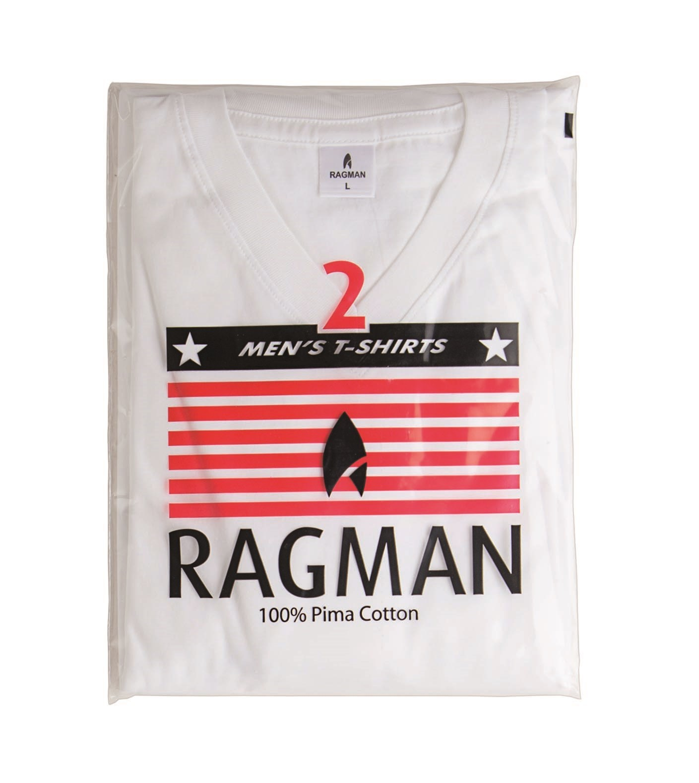 ragman t shirt wit v hals two pack 100 katoen. Black Bedroom Furniture Sets. Home Design Ideas