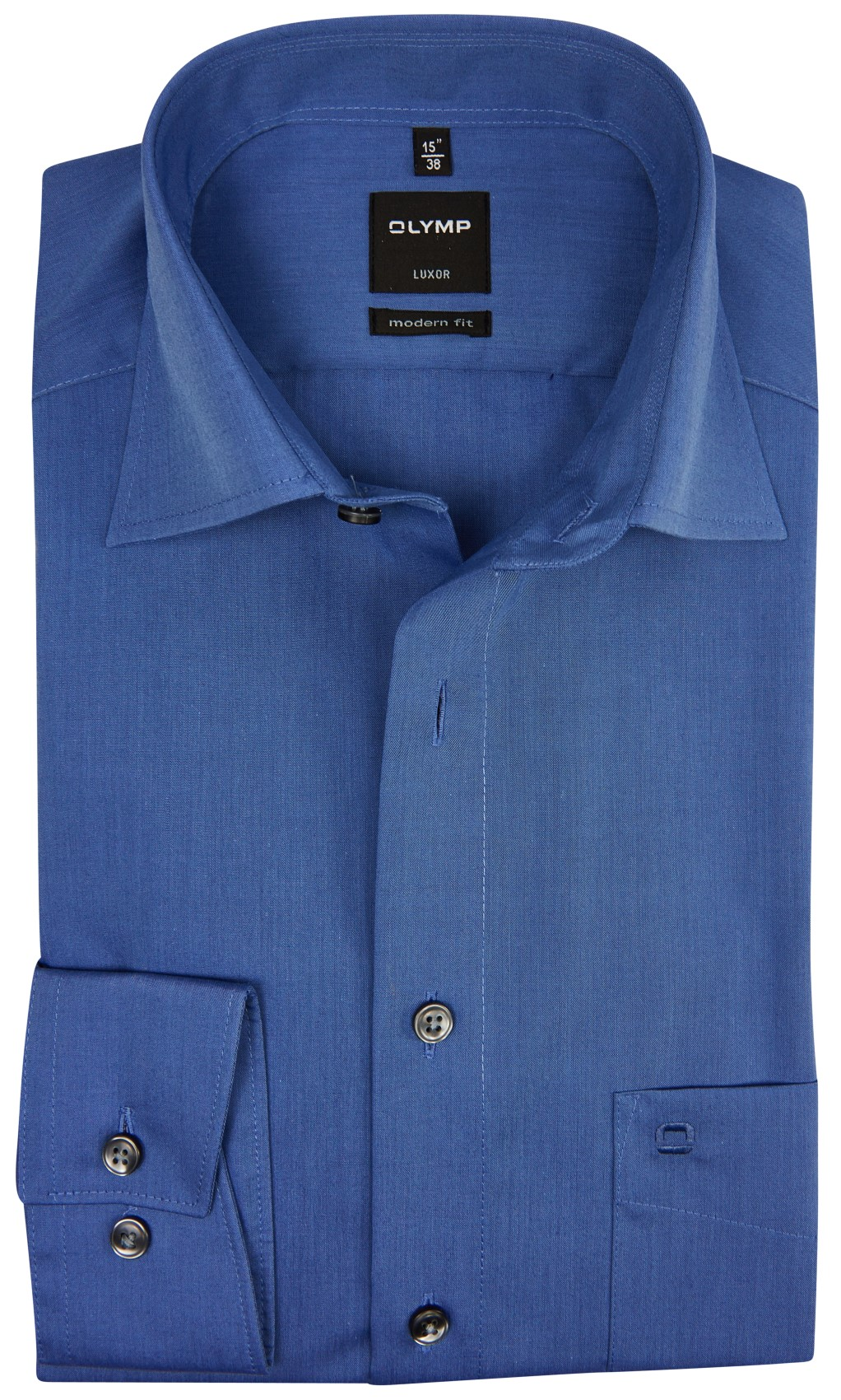 SALE Olymp overhemd modern fit chambray staalblauw