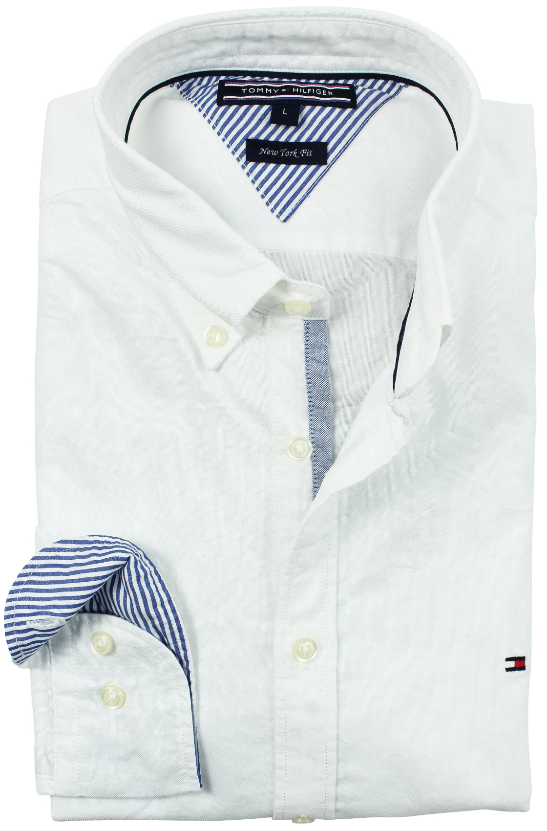 SALE Tommy Hilfiger overhemd wit blue stripe detail