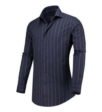 Circle of Gentlemen Overhemd Donkerblauw Gestreept Slim fit