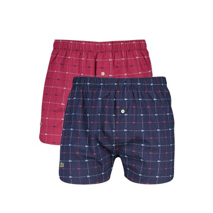 Lacoste boxershorts 2-pack navy rood