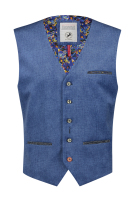 A Fish Named Fred Gilet Blauw Effen Slim fit
