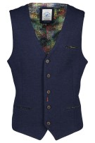 A Fish Named Fred Gilet Donkerblauw Effen Structuur Slanke fit