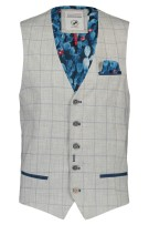 A Fish Named Fred Gilet Grijs Geruit Slim fit