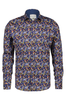 A Fish Named Fred Overhemd Donkerblauw Blauw Print Slim fit