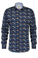 A Fish Named Fred Overhemd Donkerblauw Print Slim fit