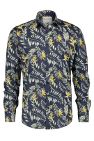 A Fish Named Fred Overhemd Geel Donkerblauw Print Slim fit