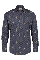 A Fish Named Fred Overhemd Grijs Blauw Print Slim fit