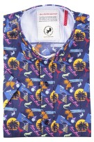 A Fish Named Fred Overhemd Korte Mouw Donkerblauw Print Slim fit
