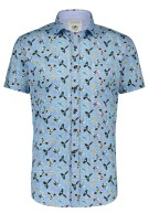 A Fish Named Fred Overhemd Korte Mouw Lichtblauw Print Gemêleerd Slim fit