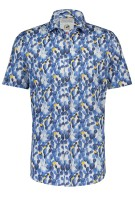 A Fish Named Fred Overhemd Korte Mouw Wit Blauw Print Slim fit