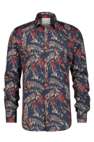A Fish Named Fred Overhemd Rood Donkerblauw Print Slim fit