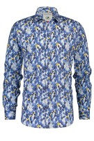 A Fish Named Fred Overhemd Wit Blauw Print Slim fit
