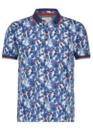A Fish Named Fred Polo Shirt Donkerblauw Wit Print Slanke fit