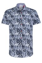 A Fish Named Fred shirt blauw print korte mouw