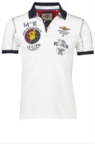 Aeronautica Militare Polo Shirt Wit Print Slim fit