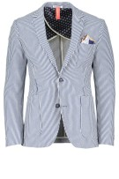 Blue Industry Colbert Wit Blauw Gestreept Slim fit