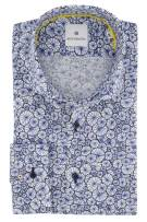 Blue Industry Overhemd Donkerblauw Wit Print Slim fit