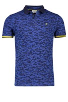 Blue Industry Polo Shirt Donkerblauw Blauw Print Slim fit