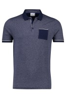 Blue Industry Polo Shirt Donkerblauw Gemêleerd Slanke fit