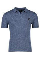 Butcher of Blue Polo Shirt Blauw Structuur Gemêleerd Normale fit