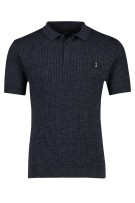 Butcher of Blue Polo Shirt Donkerblauw Structuur Gemêleerd Normale fit