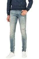 Cast Iron 5-Pocket Broek Blauw Effen Slim fit