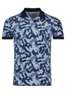 Cast Iron Polo Shirt Donkerblauw Blauw Print Slanke fit