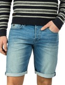Cast Iron Short Blauw Effen Slim fit
