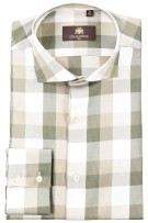 Circle of Gentlemen Overhemd Beige Groen Geruit Normale fit