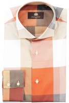 Circle of Gentlemen Overhemd Beige Oranje Geruit Normale fit