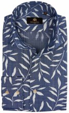 Circle of Gentlemen Overhemd Blauw Print Slim fit
