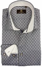 Circle of Gentlemen Overhemd Grijs Print Slim fit