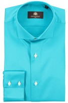 Circle of Gentlemen Overhemd Turquoise Effen Normale fit