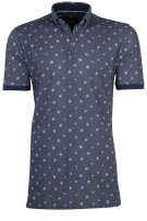 Culture polo donkerblauw motief button down