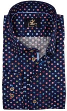 Culture shirt donkerblauw motief