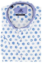 Culture shirt Regular Fit korte mouw blauw print