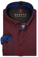 Desoto Overhemd Rood Donkerblauw Print Slim fit