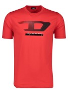 Diesel T-shirt Rood Effen Print Normale fit