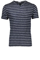 Distretto t shirt navy wit streep knoopjes