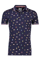 Donkerblauw poloshirt print A Fish Named Fred