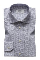 Eton Overhemd Wit Blauw Print Super slim fit