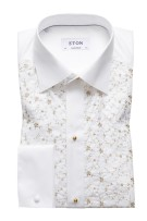 Eton Smoking Shirt Beige Wit Print Normale fit